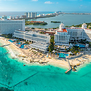 Aerial view of the Riu Hotels in Cancun.