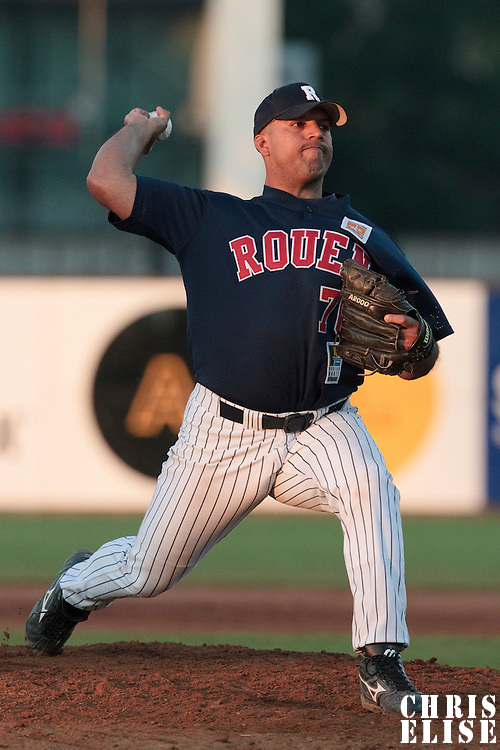 06 June 2010: Keino Perez of Rouen pitches against AVG Draci Brno during the 2010 Baseball European Cup match won 10-8 by the Rouen Huskies over AVG Draci Brno, at the AVG Arena, in Brno, Czech Republic.