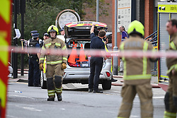 © Licensed to London News Pictures. 23/07/2020. London, UK. The scene in Park Royal, West London where a large fire has started. Local reports say around 80 of firefighters are tackling a fire in a shop. Photo credit: Ben Cawthra/LNP