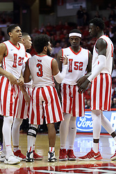 "17 February 2018:  William Tinsley, Elijah Clarance, Keyshawn Evans, Milik Yarbrough and Daouda ""David"" Ndiaye during a College mens basketball game between the University of Northern Iowa Panthers and Illinois State Redbirds in Redbird Arena, Normal IL"