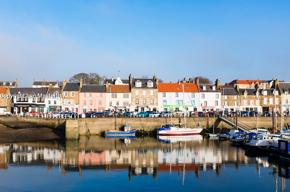 View of village of Anstruther on East Neuk of Fife in Scotland, United Kingdom