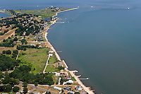 Aerial of Fenwick Point, Saybrook Jetty, Lynde Point Light, at the mouth of the Connecticut River, Old Saybrook, CT