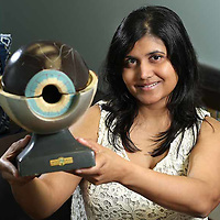 Adam Robison | BUY AT PHOTOS.DJOURNAL.COM<br /> Dr. Kushboo Agrawal with her Antique Model of an eye