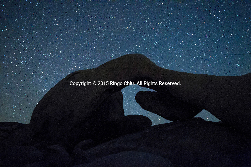 Star trails are seen above the Arch Rock at Joshua Tree National Park in Twentynine Palms, California, January 25, 2015.( Photo by Ringo Chiu/PHOTOFORMULA.com)