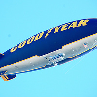 The Goodyear Blimp floats above Santa Monica on Tuesday, May 10, 2011.