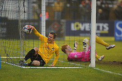 Bristol Rovers' Lee Mansell and the ballend up in the net for Rovers first goal - Photo mandatory by-line: Neil Brookman/JMP - Mobile: 07966 386802 - 04/01/2015 - SPORT - football - Nuneaton - James Parnell Stadium - Nuneaton Town v Bristol Rovers - Vanarama Conference