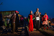 Kibera residents and fashion lovers, Mwanaidi Ismail and Sheriffa Jaffar walking along the iconic Kibera line in Nairobi, Kenya on Monday 16th of September.