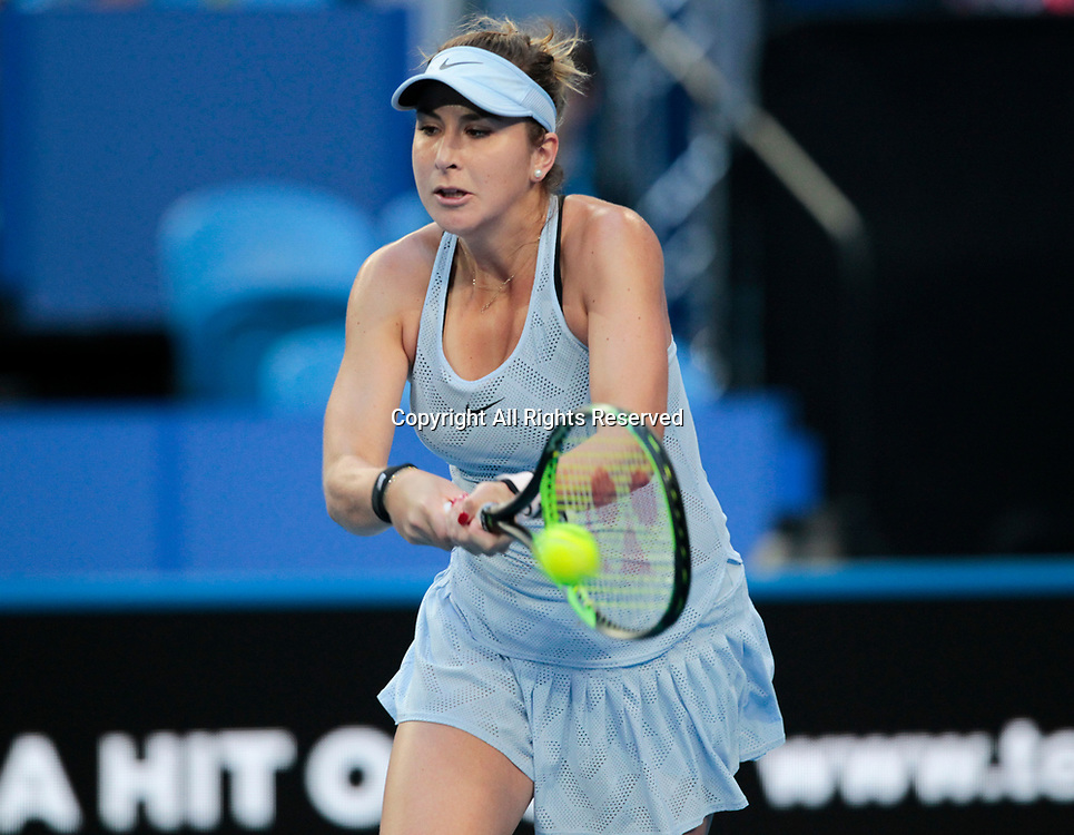 6th January 2018, Perth Arena, Perth, Australia; MasterCard Hopman Cup Tennis Final; Belinda Bencic of Team Switzerland plays a backhand shot against Angelique Kerber of Team Germany during the first set of the Final