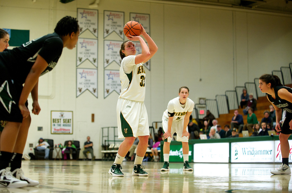 the women's basketball game between the Binghamton Bearcats and the Vermont Catamounts at Patrick Gym on Wednesday night January 11, 2012 in Burlington, Vermont.
