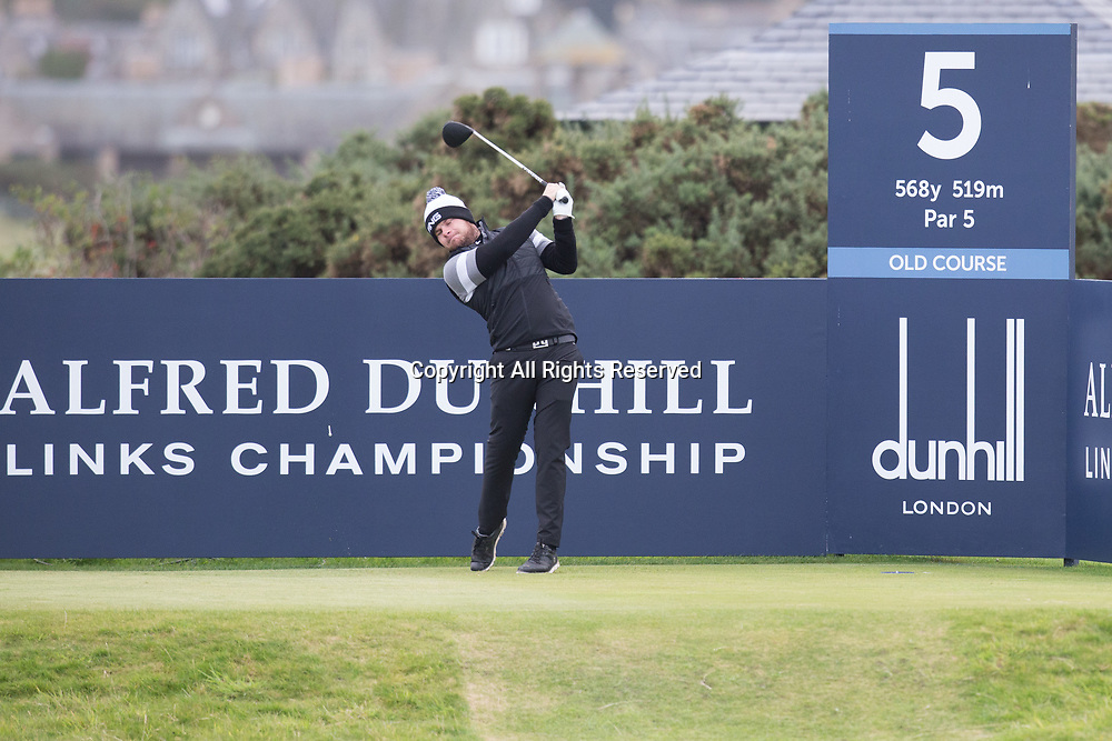 4th October 2017, The Old Course, St Andrews, Scotland; Alfred Dunhill Links Championship, practice round; Tyrrell Hatton of England tees off on the fifth hole on the Old Course, St Andrews during a practice round before the Alfred Dunhill Links Championship
