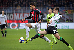 March 2, 2019 - Milan, Milan, Italy - Lucas Paqueta' #39 of AC Milan competes for the ball with Pol Lirola #21 of US Sassuolo during the serie A match between AC Milan and US Sassuolo at Stadio Giuseppe Meazza on March 02, 2019 in Milan, Italy. (Credit Image: © Giuseppe Cottini/NurPhoto via ZUMA Press)