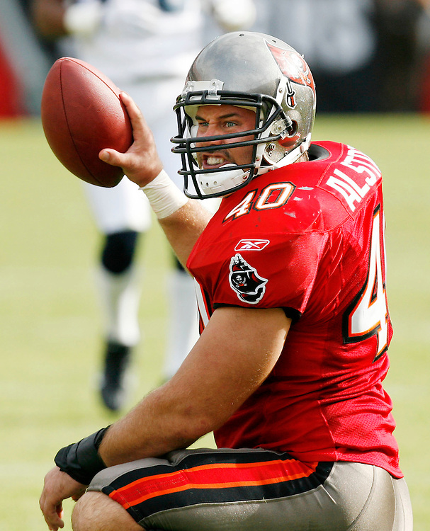 Tampa Bay Buccaneers Mike Alstott reacts to dropping pass during the fourth quarter of their NFL football game against the Seattle Seahawks on Sunday, December 31, 2006 in Tampa, Fla.  (AP Photo/Scott Audette)<br />