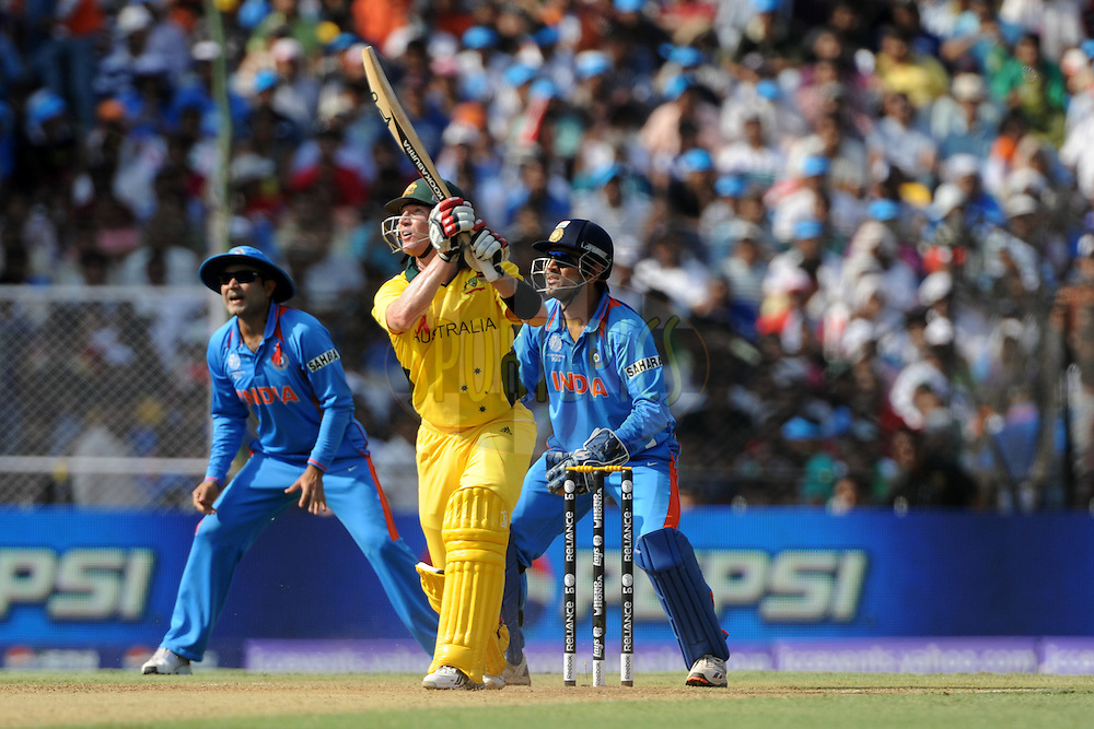 Brad Haddin of Australia bats during the ICC Cricket World Cup quarter final match between India and Australia held at the Sardar Patel Stadium, in Ahmedabad, India on the 24 March 2011..Photo by Pal Pillai/BCCI/SPORTZPICS