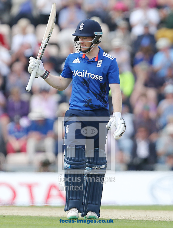 Eoin Morgan of England celebrates after reaching 50 runs during the Royal London One Day Series match at the Ageas Bowl, West End<br /> Picture by Paul Terry/Focus Images Ltd +44 7545 642257<br /> 14/06/2015