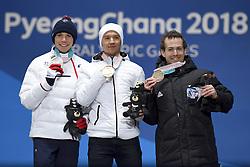 BAUCHET_Arthur, BUGAEV_Aleksei, HALL_Adam, Para Alpine Skiing, ParaSkiAlpin, Super Combined, Podium at  the PyeongChang2018 Winter Paralympic Games, South Korea.
