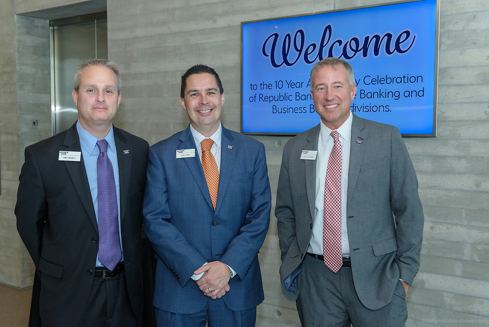 Greg Bromley, Cory Bybee and David Buchanon at the 10-year anniversary celebration of Republic Bank's Private Banking and Business Banking divisions Wednesday, May 17, 2017, at the Speed Art Museum in Louisville, Ky. (Photo by Brian Bohannon)