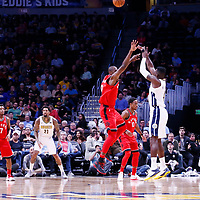 01 November 2017: Denver Nuggets forward Paul Millsap (4) takes a jump shot over Toronto Raptors forward Serge Ibaka (9) during the Denver Nuggets 129-111 victory over the Toronto Raptors, at the Pepsi Center, Denver, Colorado, USA.