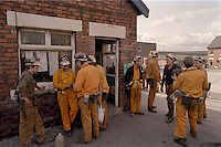 Miners waiting to go underground at Frickley Colliery, South Elmsall. British Coal Doncaster Area. 16/10/1992.