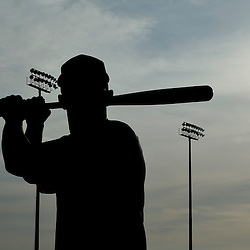 Feb 21, 2013; Kissimmee, FL, USA; Houston Astros center fielder Justin Maxwell is seen silhouetted during photo day at Osceola County Stadium. Mandatory Credit: Derick E. Hingle-USA TODAY Sports
