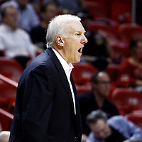 17 January 2012: San Antonio Spurs head coach Gregg Popovich is seen during the Miami Heat 120-98 victory over the San Antonio Spurs at the AmericanAirlines Arena, Miami, Florida, USA.