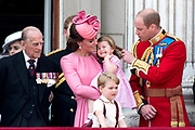 Trooping the Colour is a ceremony performed by regiments of the British and Commonwealth armies and as also marked the official birthday of the British sovereign, Queen Elizabeth.It is held in London annually on a Saturday in June on Horse Guards Parade by St. James's Park<br /> <br /> On the photo:  Prince William, Catherine, Kate, Duchess of Cambridge and Prince George and Princess Charlotte