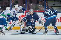 PENTICTON, CANADA - SEPTEMBER 8: Mikhail Berdin #60 of the Winnipeg Jets defends the net against the Vancouver Canucks on September 8, 2017 at the South Okanagan Event Centre in Penticton, British Columbia, Canada.  (Photo by Marissa Baecker/Shoot the Breeze)  *** Local Caption ***