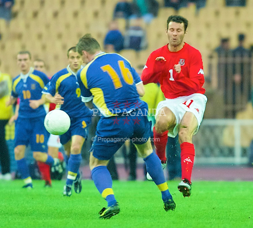 KIEV, UKRAINE - Wednesday, June 6, 2001: Wales' Ryan Giggs in action against Ukraine during the FIFA World Cup Qualifying Group Five match at the Olimpiysky Stadium. (Pic by David Rawcliffe/Propaganda)