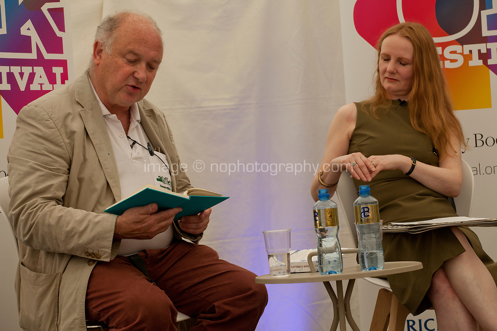 Louis de Bernieres in conversation with Martina Devlin at the Dalkey Book Festival, Dalkey, County Dublin, Ireland, Sunday 18th June 2017. Photo credit: Doreen Kennedy