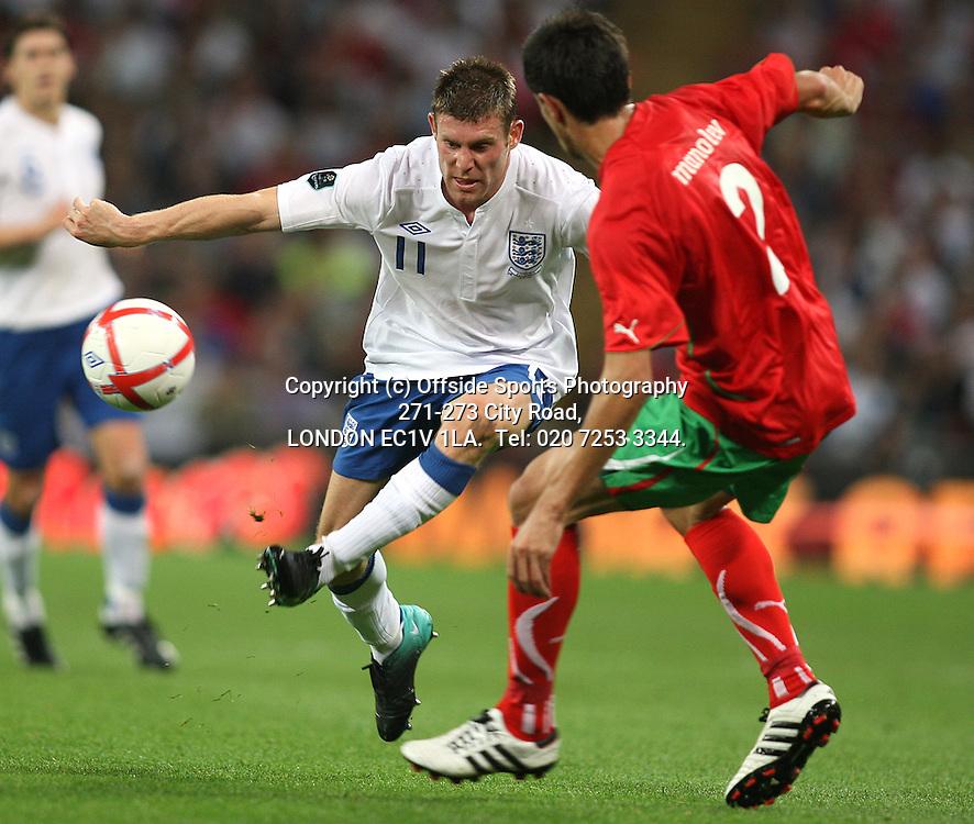 03/09/2010 International football. England v Bulgaria.<br /> James Milner on the attack.<br /> Photo: Mark Leech.