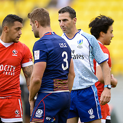 Referee Craig Joubert 2017 HSBC World Sevens Series Wellington day one at Westpac Stadium in Wellington, New Zealand on Saturday, 28 January 2017. Photo: Dave Lintott / lintottphoto.co.nz