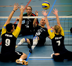 08-01-2011 VOLLEYBAL: ED ROOSEN ZITVOLLEYBALTOERNOOI 2011: LEERSUM<br /> Voller volleyball club organizes for the ninth consecutive time the Ed Roosen sitting volleyball tournament / London England vs. Leverkusen Germany<br /> ©2011-WWW.FOTOHOOGENDOORN.NL
