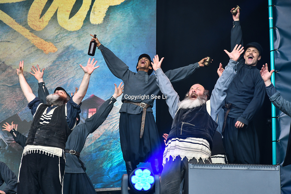 Fiddler on the Roof performs at West End Live 2019 in Trafalgar Square, on 22 June 2019, London, UK.