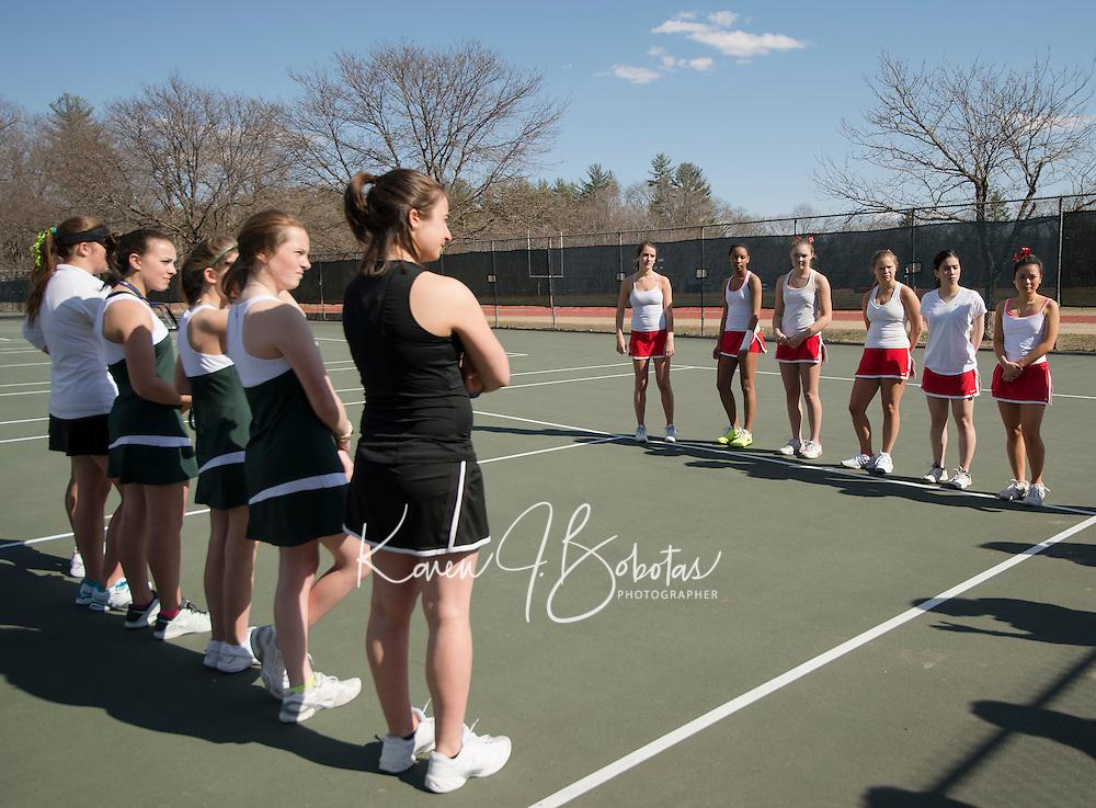 St Paul's School girls varsity tennis with Proctor Academy.    ©2014 Karen Bobotas for St Paul's School