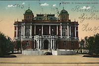 Zagreb : Kr. Hrvatsko zemaljsko kazalište. <br /> <br /> ImpresumZagreb : M. Eisenmenger, [1913].<br /> Materijalni opis1 razglednica : tisak ; 8,9 x 13,9 cm.<br /> NakladnikEisenmenger, M.<br /> Mjesto izdavanjaZagreb<br /> Vrstavizualna građa • razglednice<br /> ZbirkaZbirka razglednica • Grafička zbirka NSK<br /> Formatimage/jpeg<br /> SignaturaRZG-TMT-32<br /> Obuhvat(vremenski)20. stoljeće<br /> NapomenaRazglednica je putovala 1913.<br /> PravaJavno dobro<br /> Identifikatori000926055<br /> NBN.HRNBN: urn:nbn:hr:238:365070 <br /> <br /> Izvor: Digitalne zbirke Nacionalne i sveučilišne knjižnice u Zagrebu