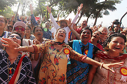 "May 5, 2019 - Mumbai, India - Members of a laughter club practice laughter on the occasion of 'World Laughing Day' in Mumbai, India on 05 May 2019. ""World Laughter Day"" is celebrated on the first Sunday of May every year. (Credit Image: © Himanshu Bhatt/NurPhoto via ZUMA Press)"
