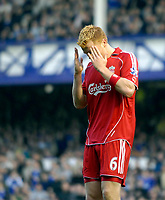 Photo: Jed Wee/Sportsbeat Images.<br /> Everton v Liverpool. The FA Barclays Premiership. 20/10/2007.<br /> <br /> Liverpool's John Arne Riise rues a missed chance.