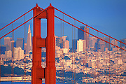 Image of the Golden Gate Bridge in San Francisco, California with skyline and Transamerica Pyramid, Amerca west coast
