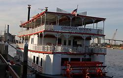 Georgia Queen riverboat is docked along the Savannah River, Savannah, Georgia, United States of America.