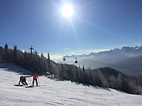 Banff ski trip. Skiing at Lake Louise.   ©2019 Karen Bobotas Photographer