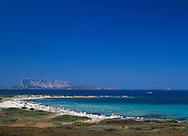 Aerial view of L'Isuledda Beach and Isola Tavolara<br /> Northeast Coast  Sardinia Italy
