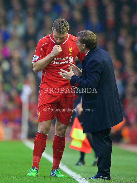 LIVERPOOL, ENGLAND - Saturday, November 29, 2014: Liverpool's Rickie Lambert and manager Brendan Rodgers during the Premier League match against Stoke City at Anfield. (Pic by David Rawcliffe/Propaganda)