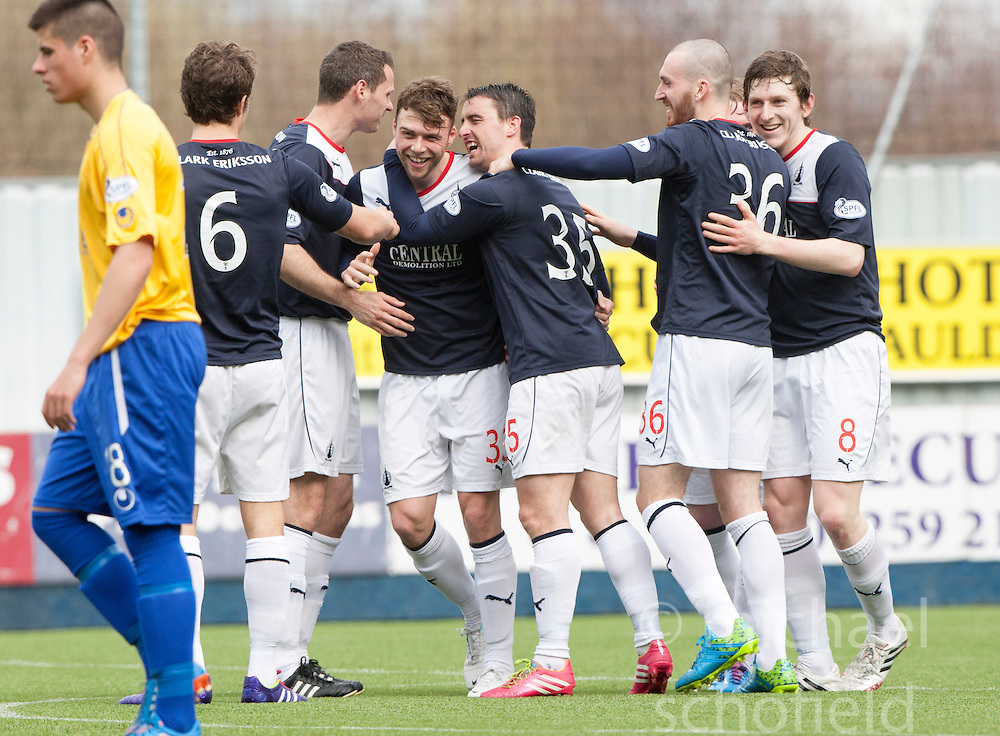 Falkirk's Rory Loy cele scoring their fifth goal and his hat trick.<br /> Falkirk 5 v 0 Cowdenbeath, Scottish Championship game played today at The Falkirk Stadium.<br /> &copy; Michael Schofield.