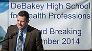 Dr. Scott Allen comments during a groundbreaking ceremony for the new DeBakey High School for Health Professionals, December 15, 2014.
