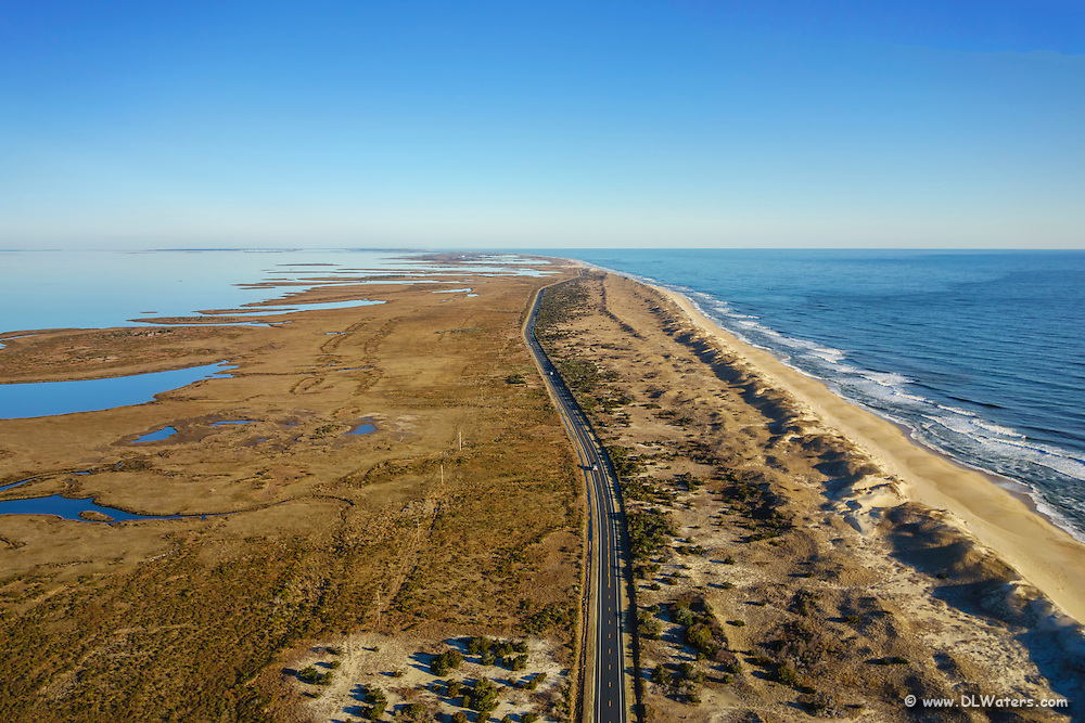 Aerial view looking North towards New Inlet in Cape Hatteras National Seashore on the Outer Banks.