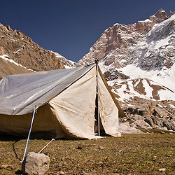 Camping in the Fan mountains, Pamir, Tajikistan, Asia.