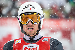 31.01.2016, Casino Arena, Seefeld, AUT, FIS Weltcup Nordische Kombination, Seefeld Triple, Skisprung, im Bild Francois Braud (FRA) // Francois Braud of France reacts after his Competition Jump of Skijumping of the FIS Nordic Combined World Cup Seefeld Triple at the Casino Arena in Seefeld, Austria on 2016/01/31. EXPA Pictures © 2016, PhotoCredit: EXPA/ Jakob Gruber