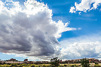 Large rain clouds gather overhead in Canyonlands national Park, Utah, USA.
