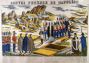 Burial of Napoleon I (Napoleon Bonaparte 1769-1821) on St Helena. From a 19th century French popular print. Colour