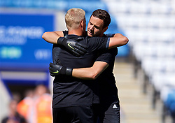 LEICESTER, ENGLAND - Saturday, September 1, 2018: Leicester City's goalkeeper Danny Ward and goalkeeper Kasper Schmeichel before the FA Premier League match between Leicester City and Liverpool at the King Power Stadium. (Pic by David Rawcliffe/Propaganda)
