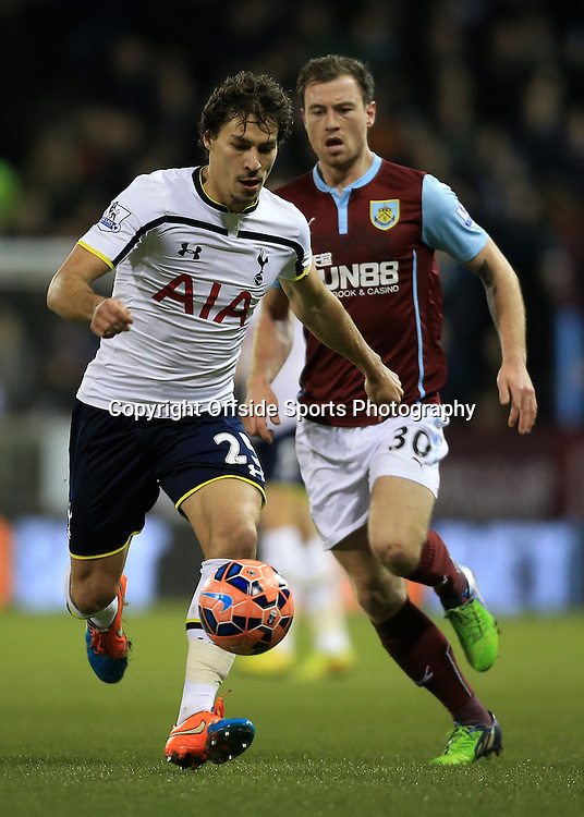 5th January 2015 - FA Cup - 3rd Round - Burnley v Tottenham Hotspur - Benjamin Stambouli of Spurs battles with Ashley Barnes of Burnley - Photo: Simon Stacpoole / Offside.